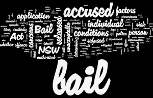 Word cloud image about Granting or refusing Bail in Court